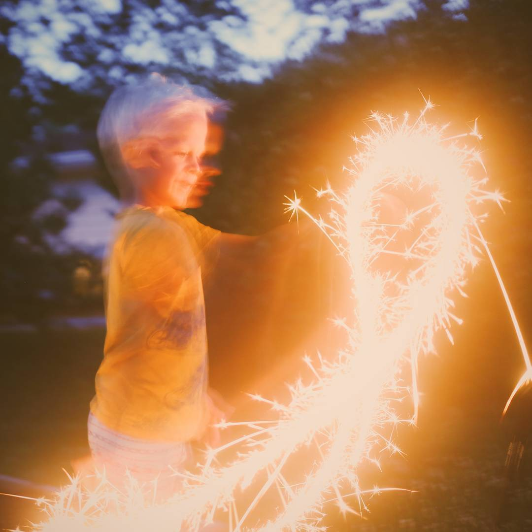 Slow shutter with kids is always interesting. Broke out the sparklers with Micah last night while backyard camping